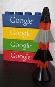 Rakete und Google-Bausteine für SEO
